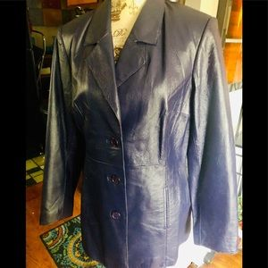 Purple genuine leather coat by Shape fx size 12